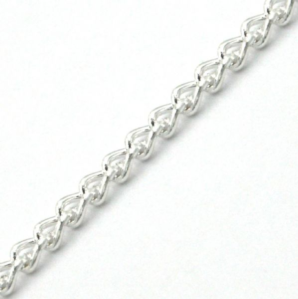 1 meter x 2mm Silver plated curb chain